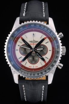 Breitling Certifie Black Leather Strap Beige Dial Chronograph 80177