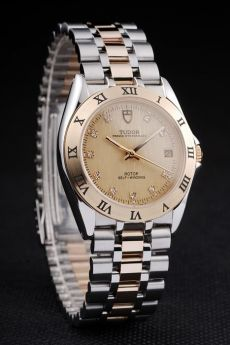 Tudor Swiss Classic Prince Date Stainless Steel Case Rose Gold Bezel Gold Dial
