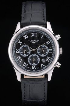 Longines Master Collection Black Leather Strap Black Dial 80224